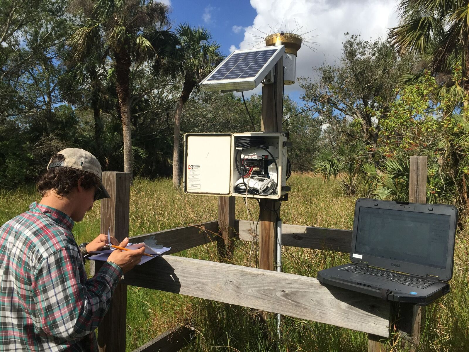Field Researchers at water level monitoring station